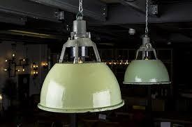 vintage factory pendant light green