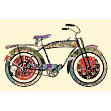 vintage bicycle collage framed graphic art on metal vintage bicycle wall art with metal vintage bicycle wall art wayfair