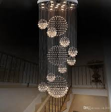 dia 80cm 100cm 120cm led crystal light spiral staircase lamps hanging chandelier pendant dorplight duplex villa living room lighting chandelier shade glass