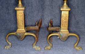 andirons fireplace cast solid brass claw feet large 18 in antique original 1800 1834268813