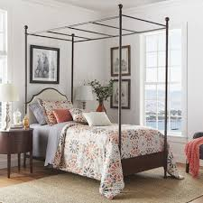 Amazing Upholstered Canopy Bed with Three Posts Rockledge ...