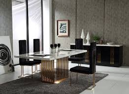 kingsley modern marble  rosegold dining table