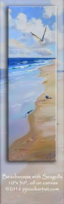 beachscape with seagulls 10x30 oil on canvas with colorful ocean waves sandy beach and seagulls