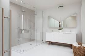 modern shower head recessed bathroom lighting. Inspired Arc Floor Lamps In Bathroom Contemporary With Glass Panel Shower Next To Two Heads Alongside Wavy Tile And Exposed Plumbing Modern Head Recessed Lighting D