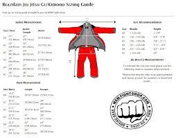 Jiu Jitsu Kimono Size Chart Bjj Florida Fight Community