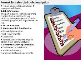 4 format for sales clerk job sales clerk jobs