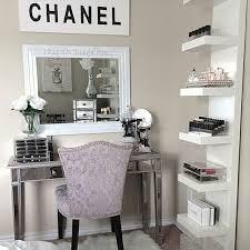 chanel inspired vanity corner with storage shelves