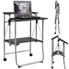 costway folding computer desk laptop pc table workstation study writing desk w 2 wheels com
