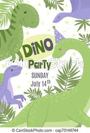 Dinosaur Birthday Invitation Vector Birthday Party Invitation With Cute Dinosaurs