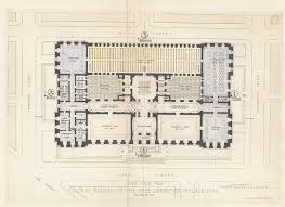 first floor plan central building of the free library of philadelphia colored in