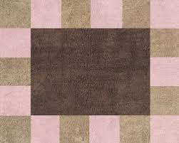 soho pink and brown squares rug kids soft accent floor area or bath rug