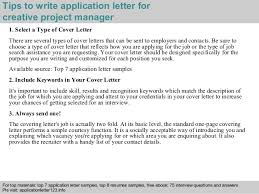 sample creative cover letters creative project manager application letter