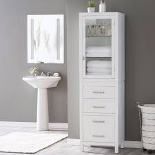 tall narrow corner bathroom linen stand tower cabinet storage drawers white new shelf tub ceramic tile shower shelves long desk table wire decor grey wall
