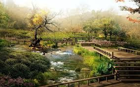 Japanese Style Garden Bridges Garden Zen Garden Photography Bridge Green Japan Lake Full Hd