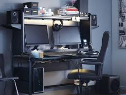 Computer office desk Bedroom Dark Room With An Elaborate Computer Gaming Setup Ikea Office Computer Desks Ikea