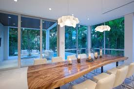 modern dining room with a tree trunk dining table for 12 off white seater chairs idea