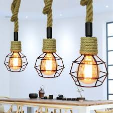 loft industrial iron cage. Brightness Vintage Hemp Rope Loft Pendant Lights Industrial Iron Cage Dining Room Hallway Cafe Bars Clothing T