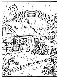 Kleurplaat Het Regent Op De Boerderij Kleurplatennl