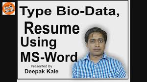 How To Create Bio Data Or Resume Using Ms Word In Hindi Simple