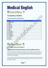 Vocab Building Worksheets Medical English Vocabulary Builder Not Suitable For