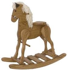 ask us a question amish oak wood medium rocking horse
