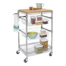 18 x 24 Kitchen Island Cart with Butcher Block Storables