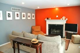 grey living room with orange accents orange accent wall grey wall color with orange accent wall