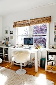 office shag. Office Decorating Ideas With Bamboo Blinds For The Window And Faux Fur Chair Cover Shag Area Rug W