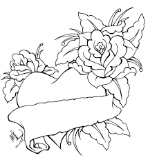 heart and rose coloring pages