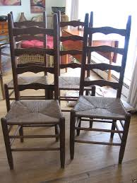 gallery of ladder back chairs with rush seats phenomenal set of four oak ladderback seat dining 98079 home interior 12