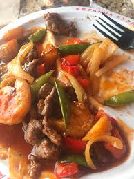panda express has smart wok options only 220 calories for the steak and shrimp with potatoes and veggies