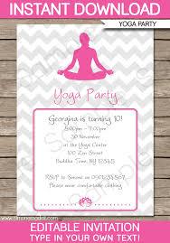 Invites Birthday Party Yoga Party Invitations Template Yoga Birthday Party
