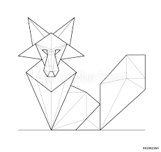 Fotografie Obraz Fox Low Polygon Linear Vector Illustration