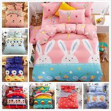 2019 pink cute rabbite pattern quilt duvet cover 3 bedding set kid soft bed linen single full twin queen size bedspread 150x200 from donaold