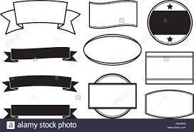 Ribbon Banner Template Black And White Big Set Of Black Solid Style Templates For Round Rubber