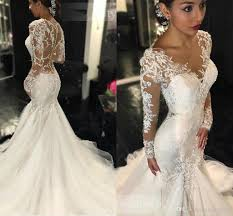 sexy ivory wedding dresses mermaid see through long sleeves beaded