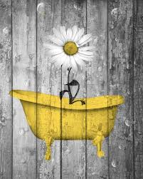 yellow gray rustic bathroom wall art daisy flower in bathtub home decor picture