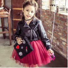 leather jacket girls winter kids princess dress brim sequins diamond dresses splicing wine red