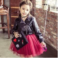 leather jacket girls winter kids princess dress brim sequins diamond dresses splicing wine red