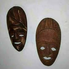 2 wooden african small tribal masks wall decor tiki face