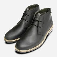 details about barbour readhead mens black leather chukka boots 11