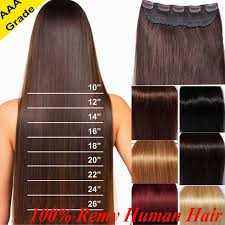 Straight Hair Length Chart Details About Long Full Head 3 4 One Piece 5 Clips 100 Straight Remy Human Hair Extension 80g