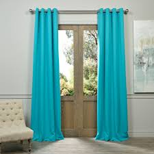 exclusive fabrics aqua grommet top blackout curtain panel pair