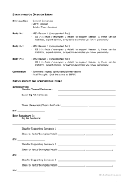 opinion essay outline worksheet esl printable worksheets  full screen
