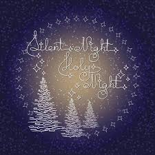 silent night holy night background. Handwritten Text Silent Night Holy And Christmas Trees On Blue Background Typographic Element With