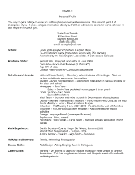 Resume Personal Profile For Resume