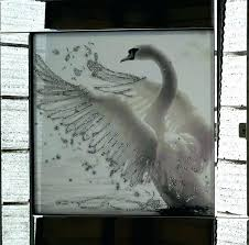 mirrored frame wall art mirrored framed wall art white glitter swan liquid glass wall art picture