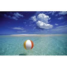 Beach ball in ocean Pool French Polynesia Bora Bora Calm Ocean With Beach Ball Foreground Patch Of Sand Background Blue Sky Clouds Canvas Art Ron Dahlquist Design Pics 19 12 Walmart French Polynesia Bora Bora Calm Ocean With Beach Ball Foreground