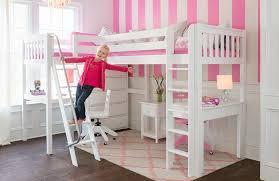 loft beds for kids with desk. Wonderful Desk Maxtrix Corner High Loft With 2 Desks And Dresser White Slatted Girl Intended Beds For Kids With Desk A