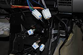 wrathernaut s double din installation faq shopping and resource the g35 stereo wiring harness showing the four male connectors the other one in the pic is for the air conditioning controls